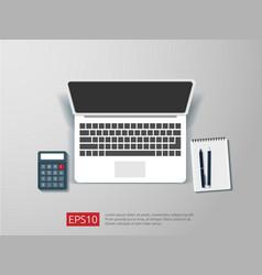 Top view of blank screen laptop vector