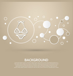 Underwear bikini icon on a brown background with vector