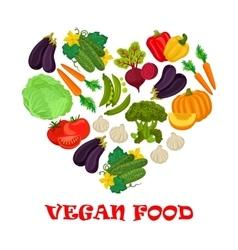 Vegan food heart symbol of vegetables icons vector