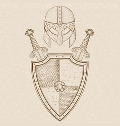 Viking warrior set - shield crossed swords and vector
