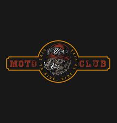Vintage moto club colorful logo vector