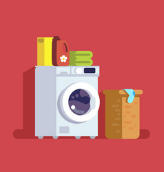 washing machine with basket vector image