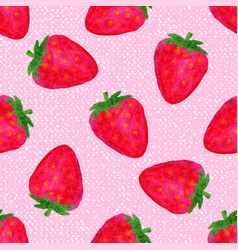 Watercolor seamless pattern with strawberries on vector