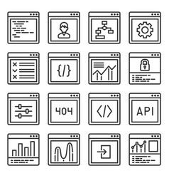 Web gui elements and applications screen icons set vector