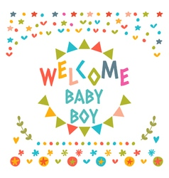 Welcome baby boy shower card Cute postcard with vector