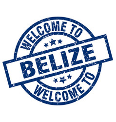 Welcome to belize blue stamp vector