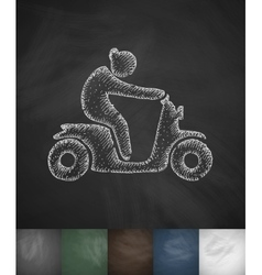 Woman on moped icon Hand drawn vector