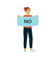 woman stand holding protest placard with no vector image