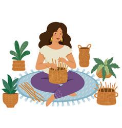 Woman weaving baskets vector