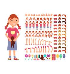 cartoon cute little girl character vector image vector image