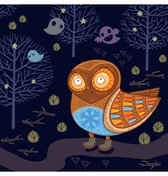 Cute cartoon owl in the night forest with ghosts vector image
