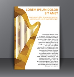 Flyer with polygonal harp vector image