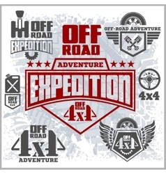Off-road suv car emblems badges and icons Off vector image vector image