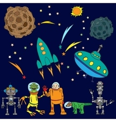 Space background The various space objects vector image