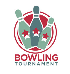 Bowling tournament poster or logo template vector