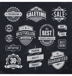Chalk drawn sale emblems vector