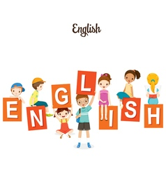 Children With English Alphabets vector image vector image