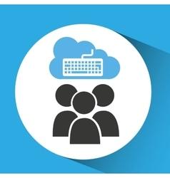 Cloud connection social media keyboard vector