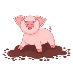cute pig in a puddle vector image