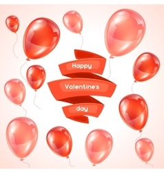 Happy Valentine day greeting card with pink and vector image