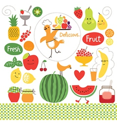 healthy eating fruits food collect vector image