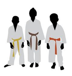karate kids with different color belt rank vector image