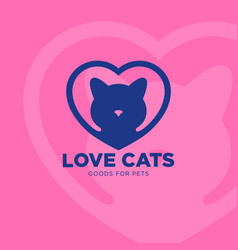 logo love cat heart vet clinic vector image vector image