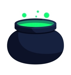 Witch cauldron with green potion icon vector image