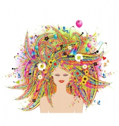 woman face festive floral hairstyle vector image