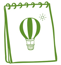 A green notebook with a drawing of a hot air vector image
