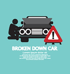 Broken Down Car Symbol vector image