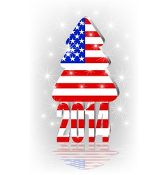 Christmas tree with the American flag vector image vector image