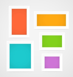 Color picture frames on a wall Template for a vector image vector image