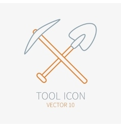 Line working color pickaxe with shovel vector image