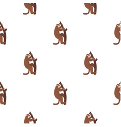 macaque is climbing up on a tree pattern seamless vector image