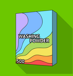 Washing powder dry cleaning single icon in flat vector