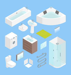 furniture bathroom interior element set isometric vector image