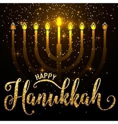 happy Hanukkah gold vector image vector image