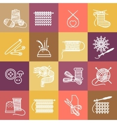 Knitting icons set vector image vector image