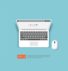 loading page browser on top view laptop screen vector image