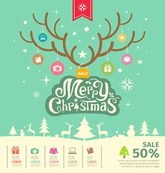Merry Christmas reindeer sale concept vector image vector image