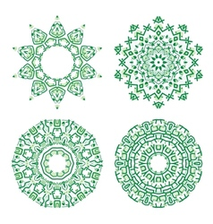 Ornamental ethnicity green pattern vector image vector image