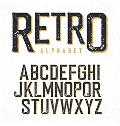 Retro typeface Stamped alphabet shadowed Isolated vector image vector image