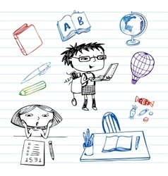 Study and education doodle set vector image