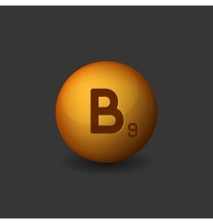 Vitamin b9 orange glossy sphere icon on dark vector