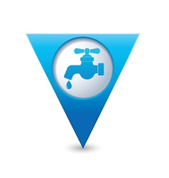 water tap icon map pointer blue vector image