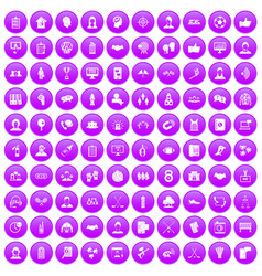 100 team icons set purple vector