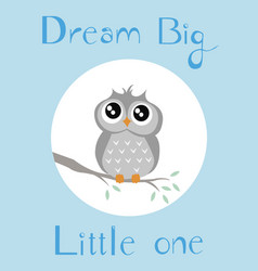 A baby owl with full blue background vector
