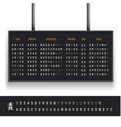 Airport board set font for international business vector