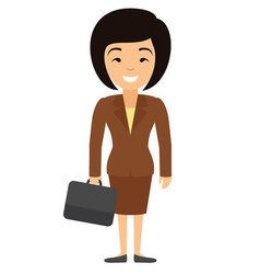 asian businesswoman character with case in flat vector image